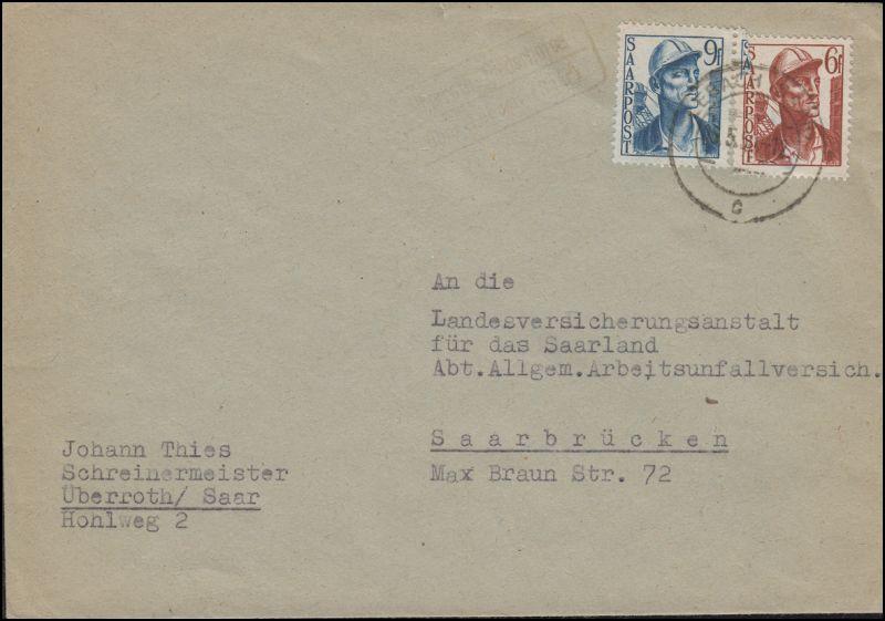 Landpost Überroth-Niederhofen über LEBACH (Saar) 5.5.50 nach Saarbrücken
