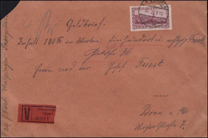 114 und 119 (Rück.) auf Wert-Brief NEUNKIRCHEN (SAAR) 23.9.1927 nach BONN 27.9.