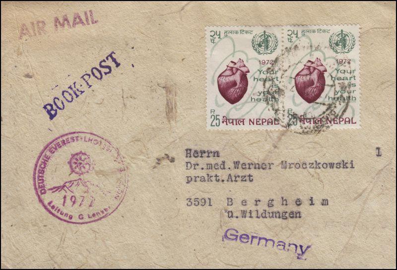 Nepal Deutsche Everest-Lhotse-Expedition 1972 BOOK-POST nach Bergheim