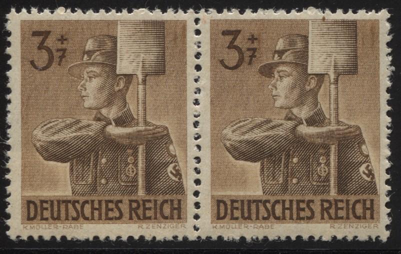850I Arbeitsdienst 3 Pf. im Paar mit Paar PLF I helles Mützenschild, **