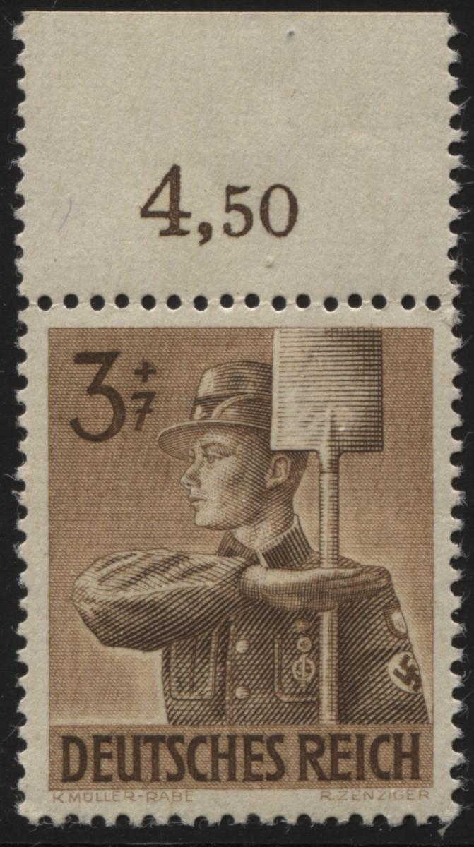 850I Arbeitsdienst 3 Pf. OR-Stück mit PLF I helles Mützenschild, postfrisch **