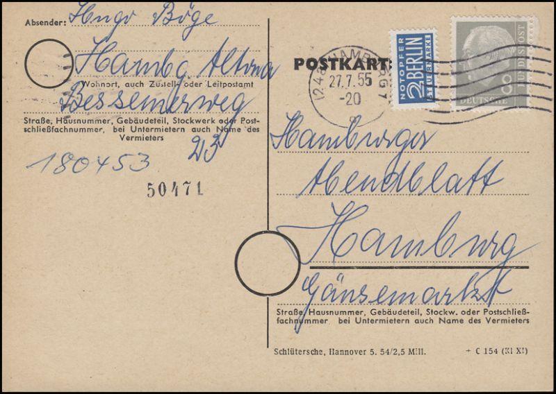 182x Heuss 8 Pf mit Notopfer als EF auf Orts-Postkarte HAMBURG 27.7.55