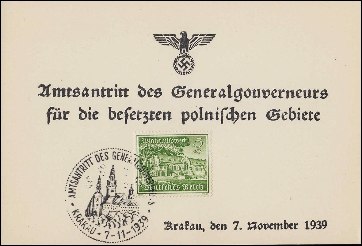 Erinnerungskarte Amtsantritt des Generalgouverneurs SSt KRAKAU 7.11.1939