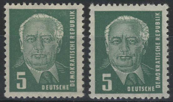 322 Pieck 5 Pf. - zwei Marken mit verschiedenen Farbtönungen, postfrisch **