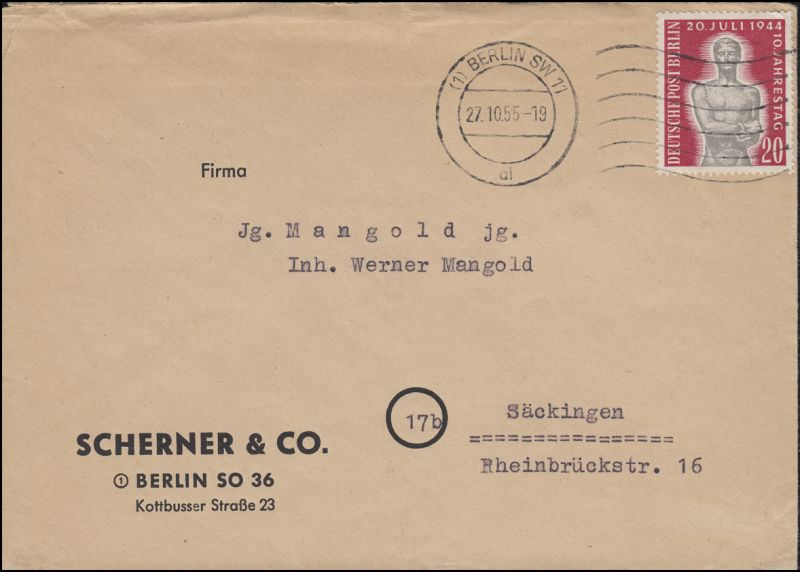 119 Jahrestag 20. Juli 1944 als EF auf Fern-Brief BERLIN SW 11 - 27.10.55