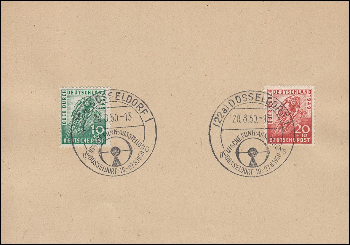106-107 Radrennen-Satz auf Vorlage mit SSt DÜSSELFORF Funkausstellung 20.8.1950