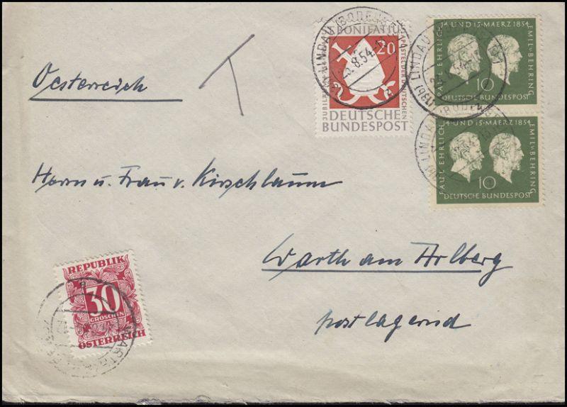 197 Ehrlich & Behring 2x10 Pf + 199 MiF Auslandsbrief LINDAU / BODENSEE 23.8.54