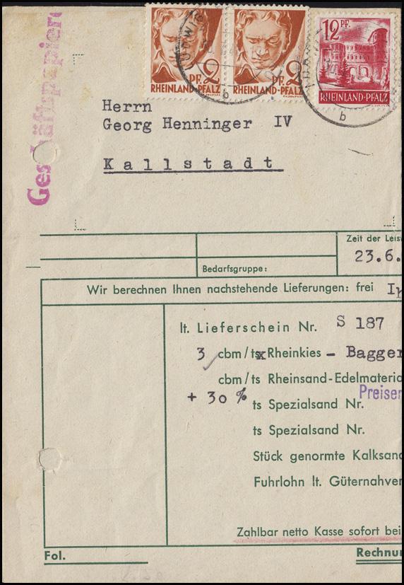 16 Beethoven 2x 2 Pf Paar + 20 Porta Nigra MiF Rechnungs-Bf LUDWIGSHAFEN 10.7.48