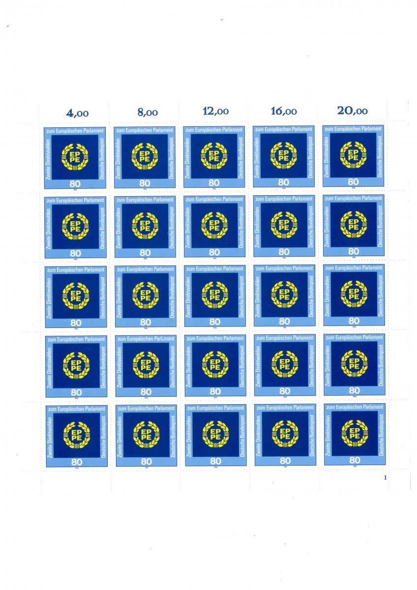 1209 Direktwahl zum Europaparlament, kompletter 25er-Bogen mit FN 1 **