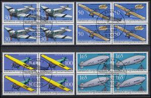 1522-1525 Luftpostbeförderung Viererblock-Satz mit ESSt Bonn und mit PLF 1522I