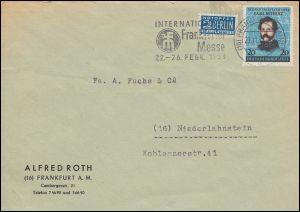155 Carl Schurz mit Notopfer als EF auf Brief FRANKFURT Messe 29.11.1952