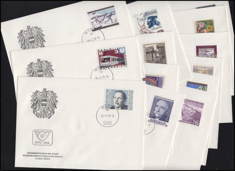 1566-1596 Österreich-Jahrgang 1978 komplett auf Ersttagsbriefen / FDC