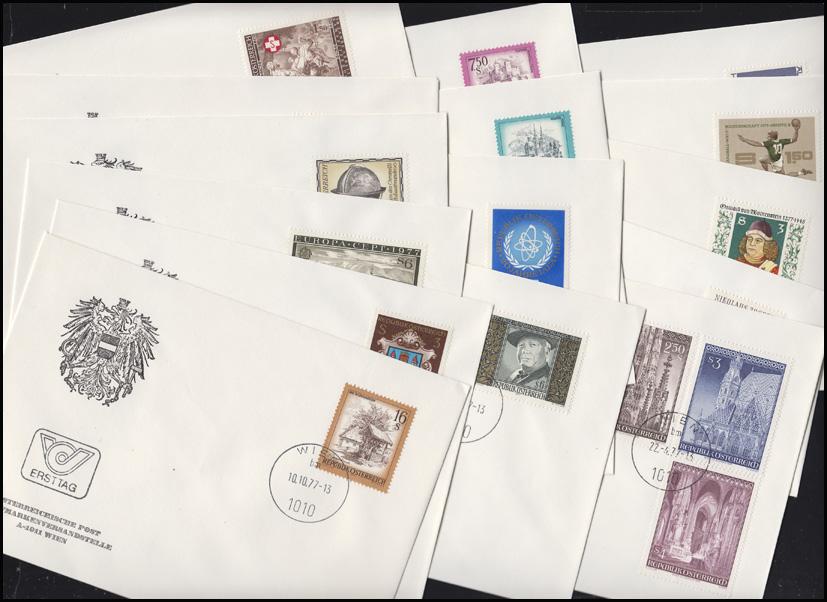 1540-1565 Österreich-Jahrgang 1977 komplett auf Ersttagsbriefen / FDC