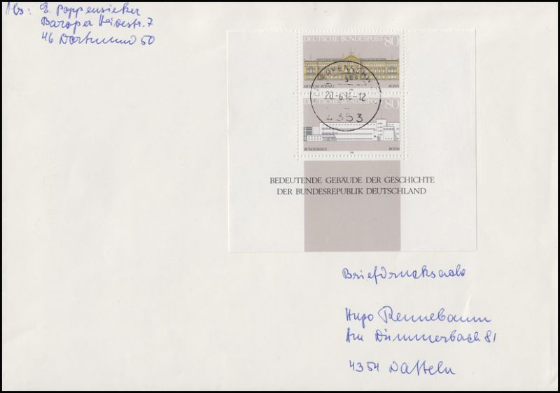 1288-1289 Demokratie: Gebäude, ZD im Blockunterteil FDC OER-ERKENSCHWICK 20.6.86