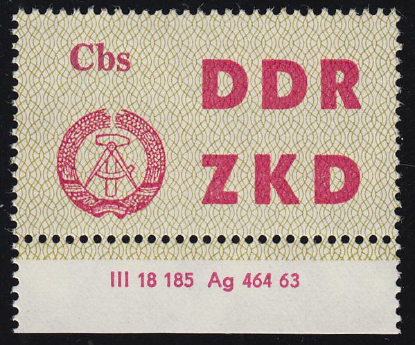 Dienst C 2 Volkspolizei Cottbus - mit Druckvermerk DV 2, ungefaltet **