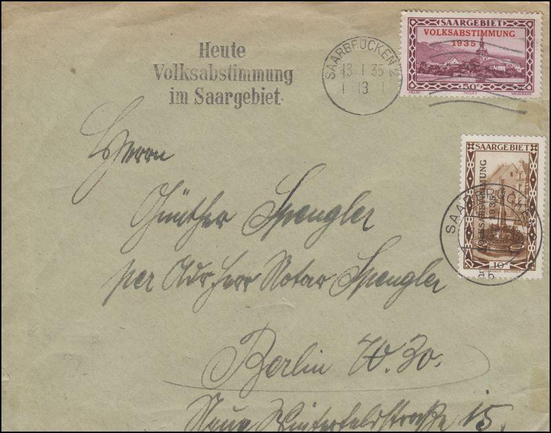 179+185 Volksabstimmung 10+50 C. MiF auf Brief SAARBRÜCKEN 13.1.1935