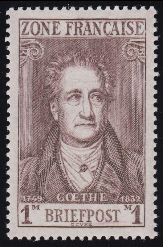 11I Goethe 1 Mark mit PLF I Striche unter POST, Feld 25, ** postfrisch