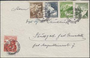 675-679 WHW Alpenblumen 5 Werte von 3 bis 8 Pf MiF Ortsbrief STUTTGART 1.12.1938