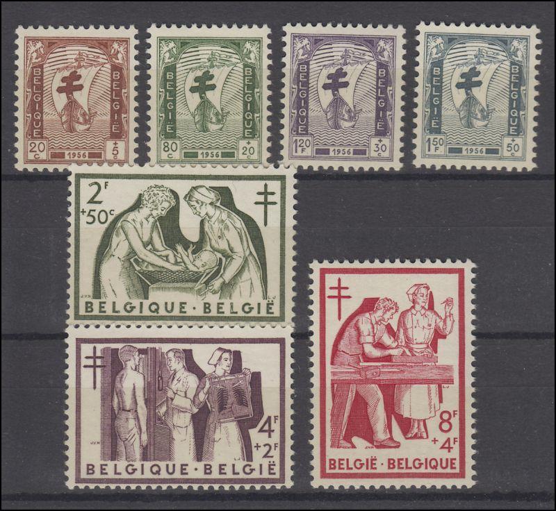 Belgien 1047-1053 Wofa für Tuberkulosebekämpfung 1956, Satz postfrisch **