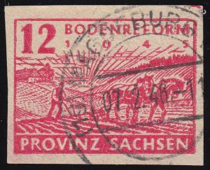 86III Bodenreform 12 Pf. mit PLF III R in PROVINZ unten schmal, MAGDEBURG 7.2.46