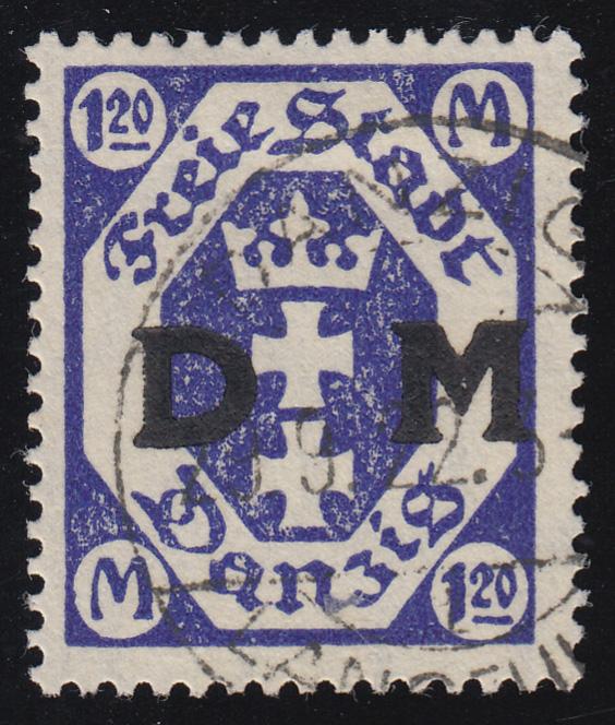 Danzig Dienstmarke 12F Wappen - ohne Rosettenunterdruck, Gefälligkeitsstempel