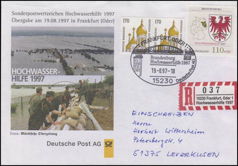 Sonder-R-Zettel Hochwasserhilfe 1997 mit 1941, R-FDC ESSt Frankfurt/Oder Brücke