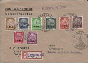 Elsaß 1-8 Hindenburg mt Aufdruck 3 bis 15 Pf MiF R-Brief SSt STRASSBURG 19.11.40