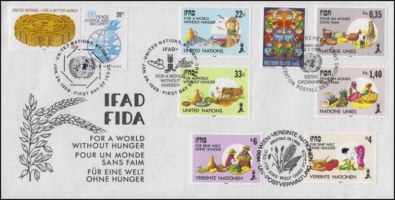 UNO Trio-FDC Für eine Welt ohne Hunger, 9 Marken auf Schmuck-FDC IFAD FIDA 1988