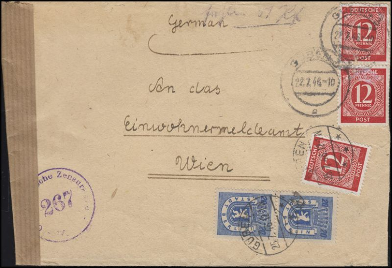 Zensur Österreichische Zensurstelle 267 Wien auf Bf. MiF GUBEN 22.7.46 nach Wien