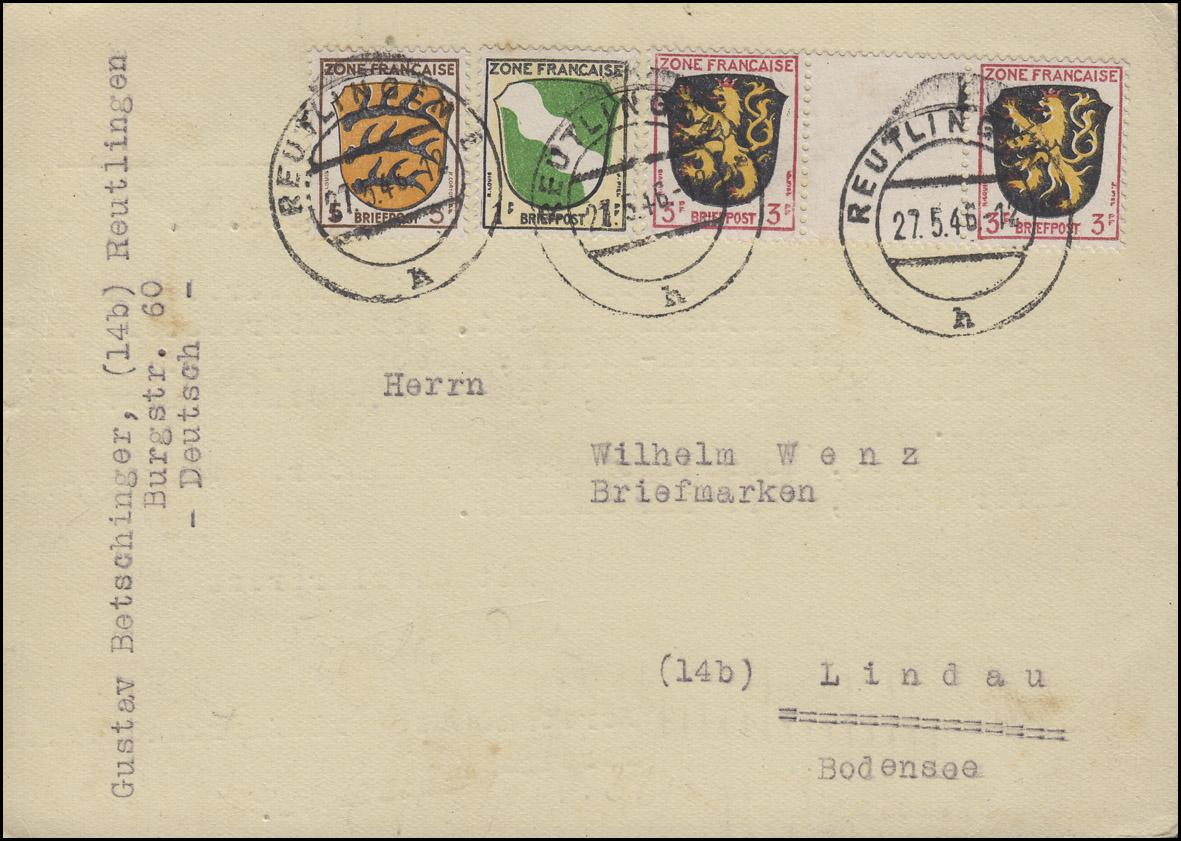 2 ZW Wappen-Zwischenstegpaar 3 Pf mit 1+3 auf Postkarte REUTLINGEN 27.5.46