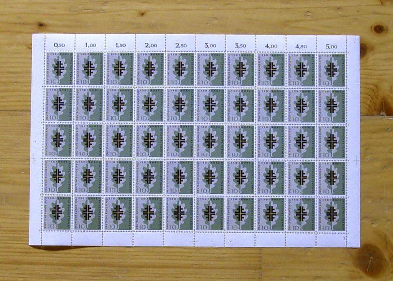 292 Turnen 1958: ungefalteter Schalterbogen mit FN 2 **