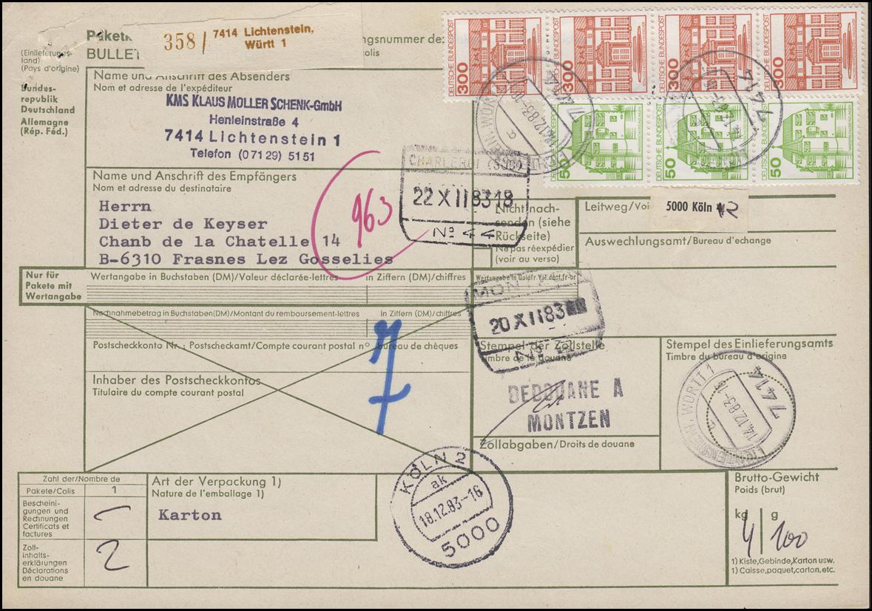 1143AI BuS 300 als 4er-Streifen + 1038AI auf Paketkarte LICHTENSTEIN 14.12.1983
