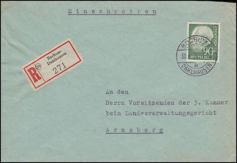 193x Heuss 90 Pf portogerechte EF auf R-Brief BOCHUM-DAHLHAUSEN 30.4.56
