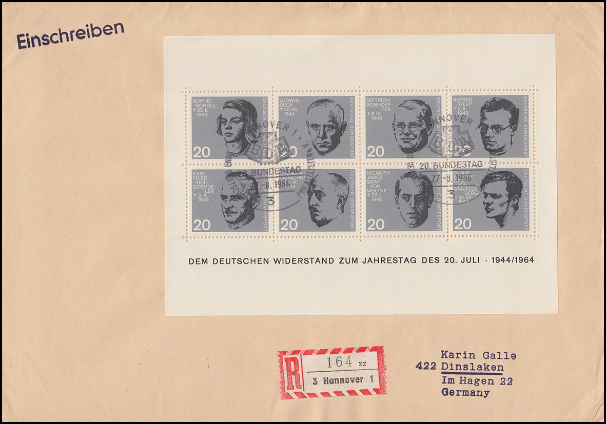 Block 3 Attentat 20.Juli 1944 auf R-Brief HANNOVER SSt 20. Bundestag 27.8.1966