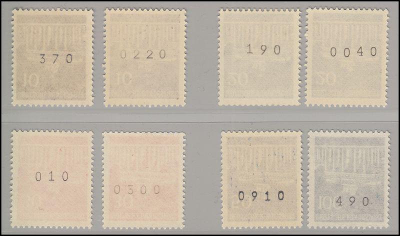 506-510v Brandenburger Tor, alle mit Nummer, von der kleinen und großen Rolle **
