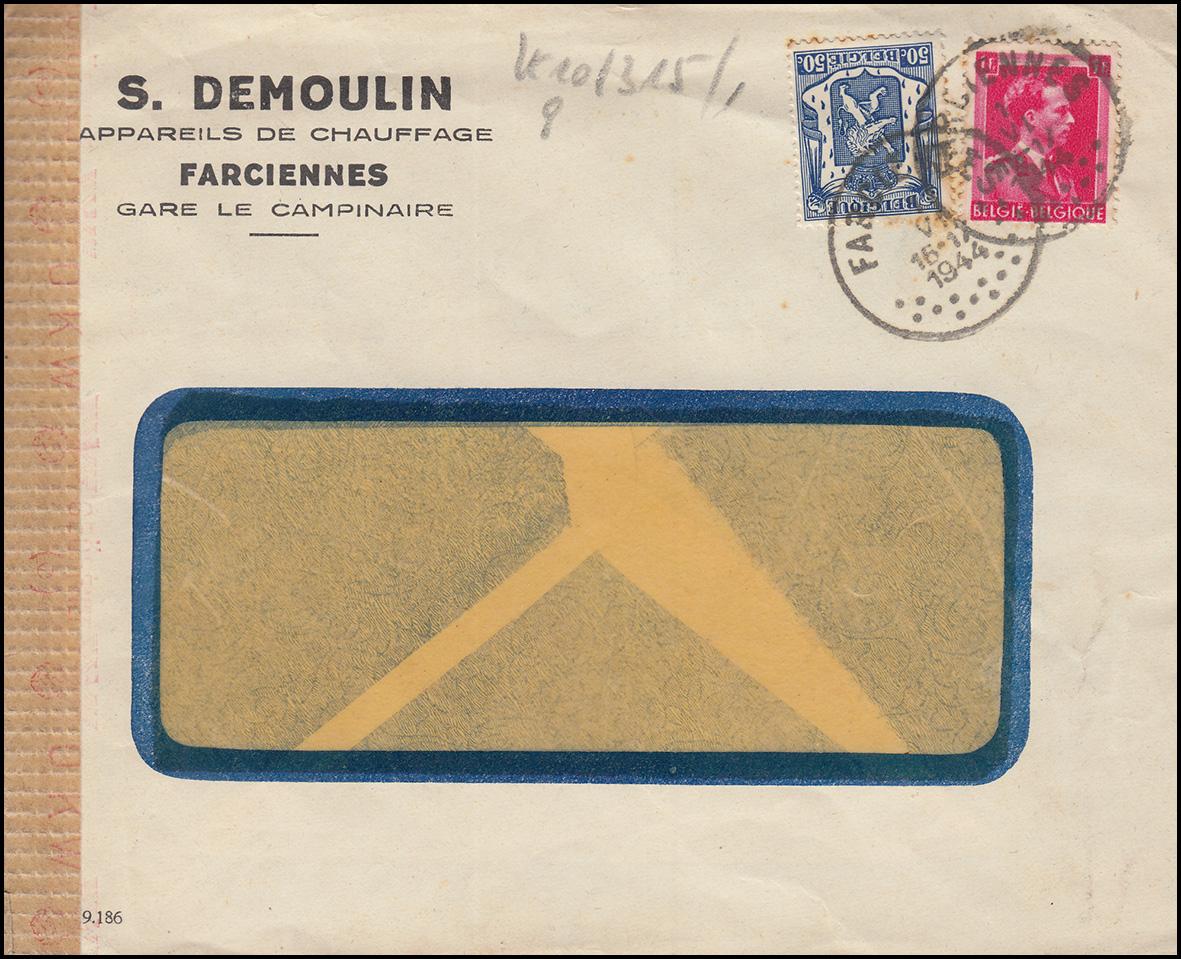 Belgien Zensur-Brief FARCIENNES 1.6.1944 mit 422+581 Wappen-Leopold-MiF
