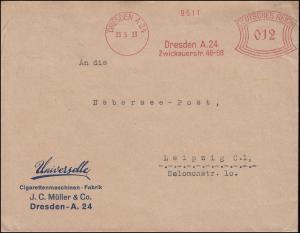 Absenderfreistempel Zigarrenmaschinen-Fabrik DRESDEN A 24 - 23.5.33 nach Leipzig