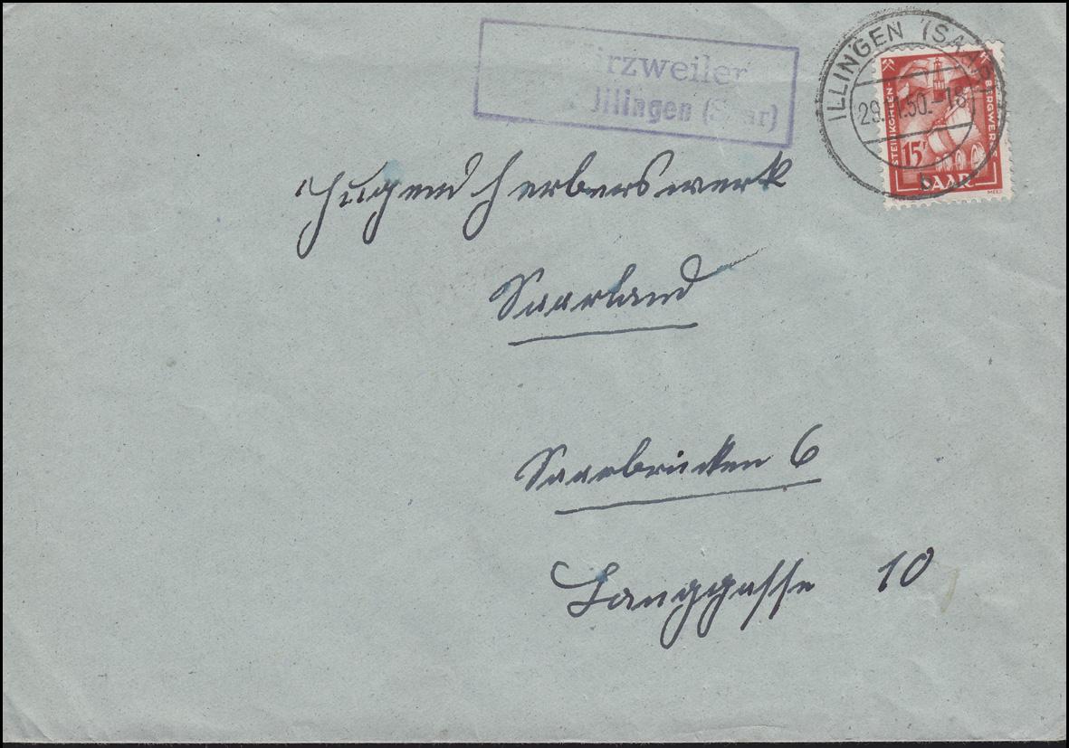 Landpost Hirzweiler über ILLINGEN (SAAR) 29.11.1950 auf Brief mit 281 als EF