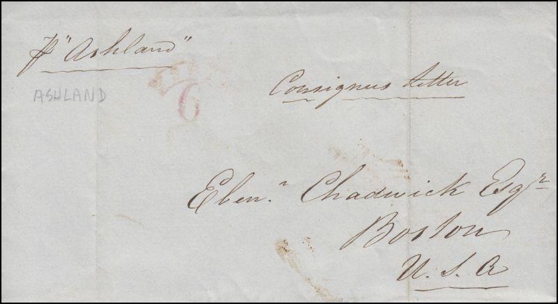 Brief vom 11.7.1844 ab Liverpool nach Bosten roter Stempel SHIP 6 (Teilabdruck)