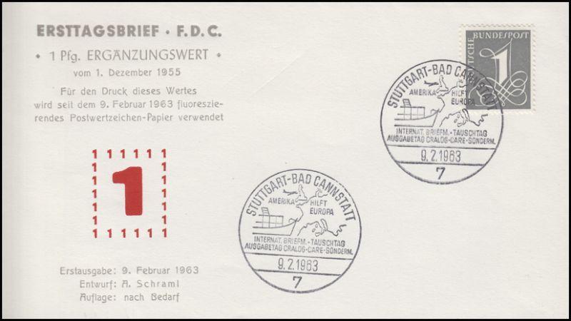 226yw Ziffer 1963 fluoreszierendes Papier - auf Schmuck-FDC ESSt 9.2.1063
