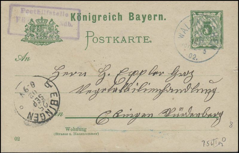 Bayern Postkarte Ziffer 5 Pf WALDKIRCHEN & Posthilfsstellen-O n. EBINGEN 25.9.02