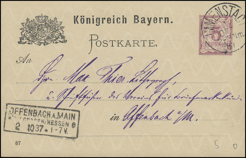 Bayern Postkarte IMMENSTADT 1.10.87 nach Rahmenstempel OFFENBACH/MAIN 2.10.87
