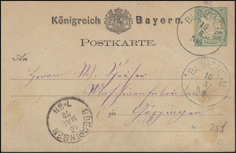 Bayern Postkarte bläulich BLINDHEIM 16.5. nach GÖPPINGEN 16.5.78