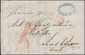 Baden Vorphilatelie Freiburg / Breisgau September 1846 nach Sinsheim