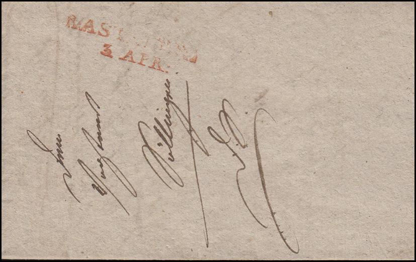 Baden Vorphilatelie Brief Zweizeiler RASTATT 3. April (1824) nach Villingen