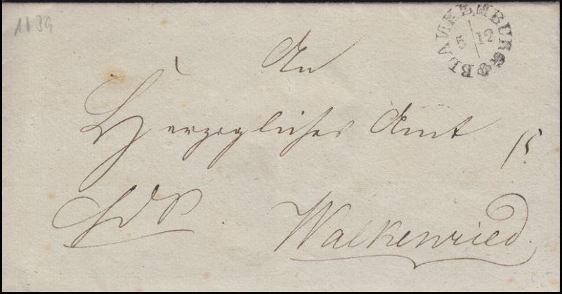 Braunschweig Vorphilatelie Bf Rundstempel BLANKENBURG 5.12. (1839) n. Walkenried