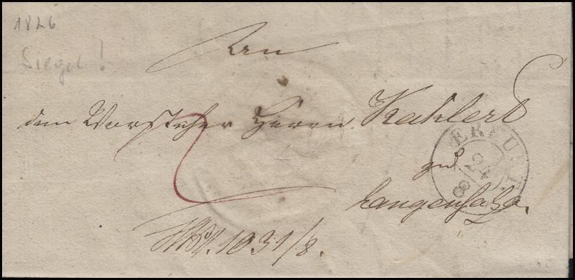 Preußen Vorphilatelie Brief Zweikreisstempel ERFURT 24.8. (1826) n. Langensalza