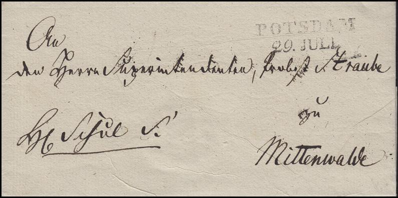 Preußen Vorphilatelie Briefhülle Zweizeiler POTSDOM 29. JULI nach Mittenwalde
