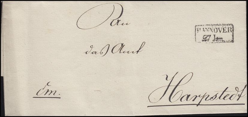 Hannover Vorphilatelie Briefhülle Rahmenstempel HANNOVER 27. Jan. nach Harpstedt