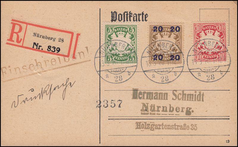 Bayern 177II Wappen mit passender Zusatzfr. Orts-R-Postkarte NÜRNBERG 13.3.1920